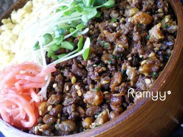 ひき肉納豆のお弁当