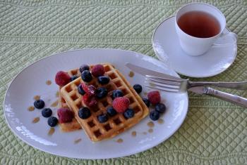 ワッフルで朝食