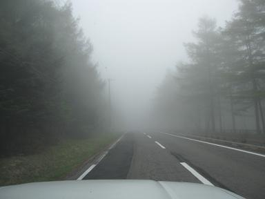 霧エリアに突入~!