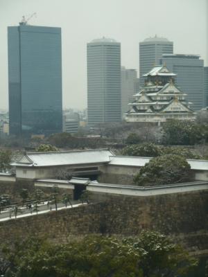 雪化粧した大阪城天守閣