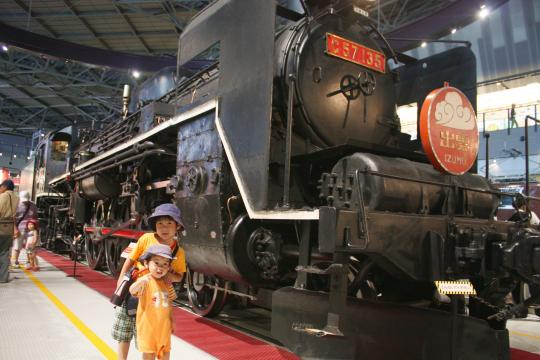 鉄道博物館での長男と次男