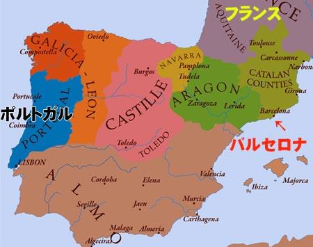 13世紀のスペインの辺りの地図