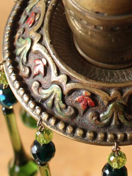 アメリカ アンティークのどっしり重たい真鍮製1灯シャンデリア