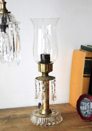 チムニーガラスシェードテーブルランプ/アンティークプリズム卓上ランプ