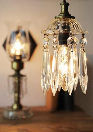 ガラス製プリズムシャンデリア/アンティーク照明ビーズランプ