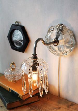 ガラスシェードプリズムウォールランプ/アンティーク壁掛け照明