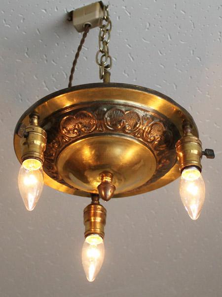 USAヴィンテージ真鍮製3灯シーリングライト/アメリカアンティーク照明ランプ