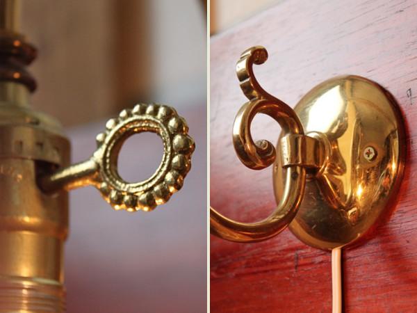 アメリカンヴィンテージホブネイルキー付き真鍮製ウォールランプ