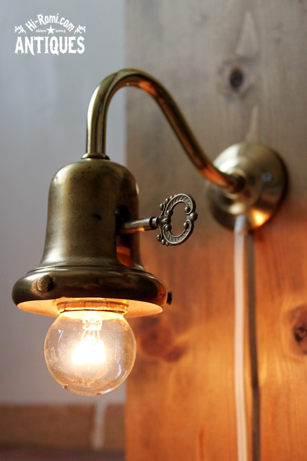 アメリカンヴィンテージベル型カップ鍵スイッチ付きウォールランプ