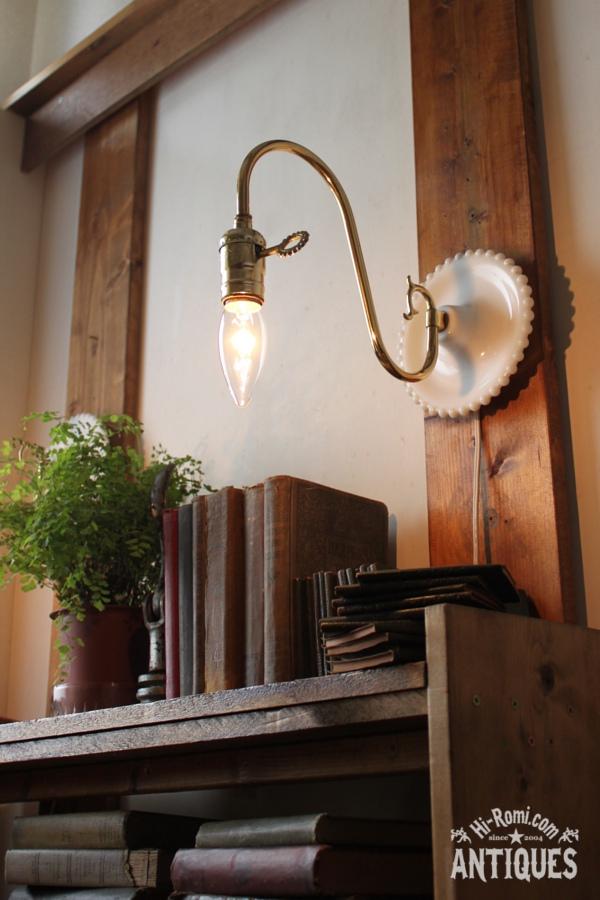 ヴィンテージ鍵付きホブネイルミルクガラスウォールランプA/アンティーク壁掛けライト