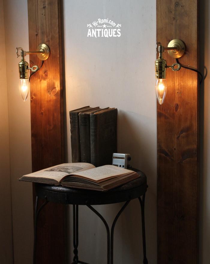 2012auction104 USA鍵付ソケット真鍮壁掛ライト、ブラケットA/アンティーク照明