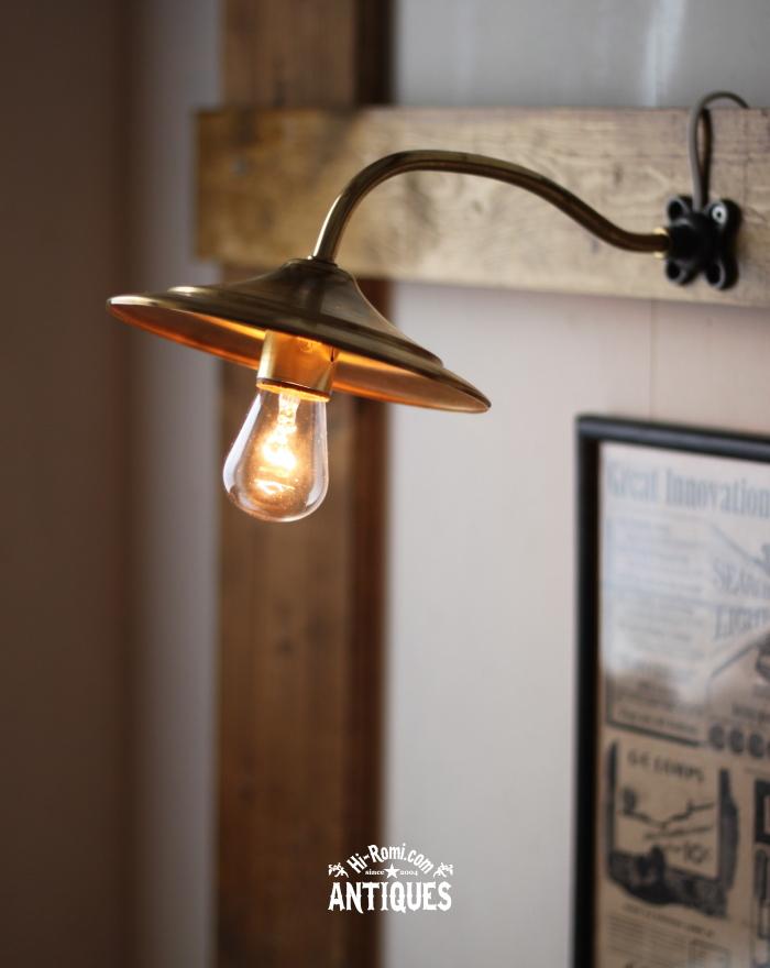 2012auction111 USA F社ソケット真鍮シェード工業系壁掛ライト/アンティーク照明