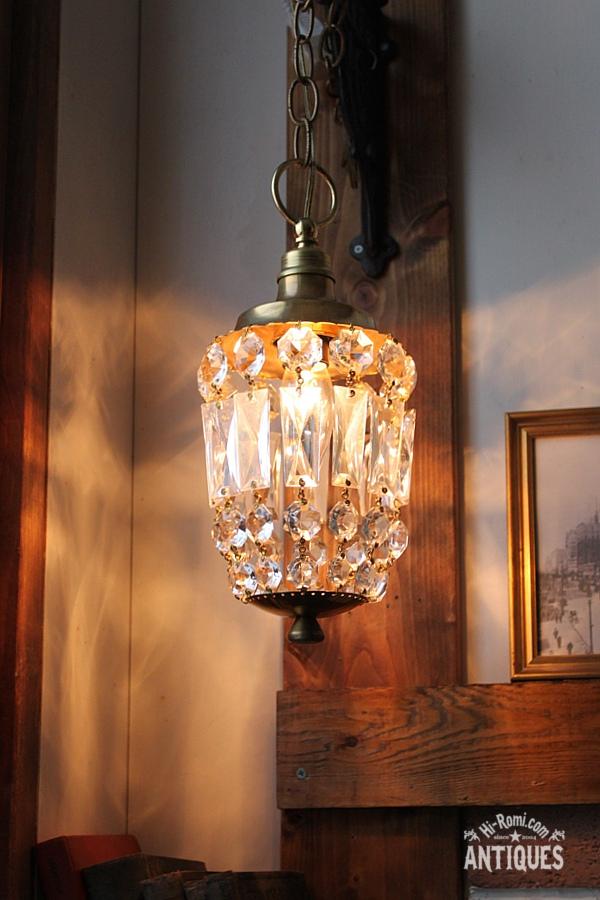 真鍮スクエアプリズム1灯シャンデリアランプ/アンティーク照明