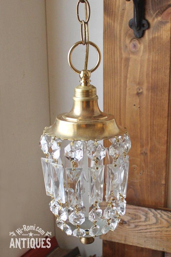 真鍮フレームスクエアプリズムの1灯シャンデリアランプ/アンティークライト