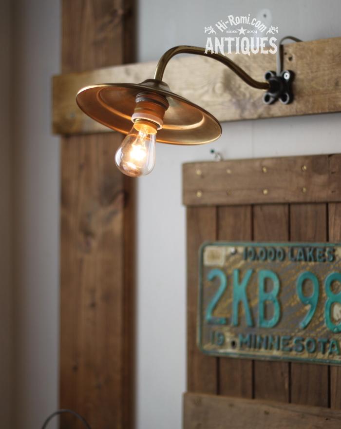2012auction127 USA真鍮シェード工業系壁掛ライト/アンティークウォールランプ