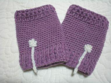 紫ハンドウォーマー
