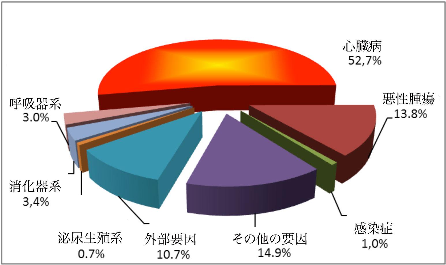 図2-8_ ベラルーシの死因構成、2008年[訳注:外部要因とは事故・犯罪死など]