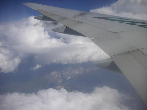 アリタリア機アルプスを飛ぶ