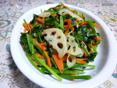 小松菜とレンコンのガーリック炒め