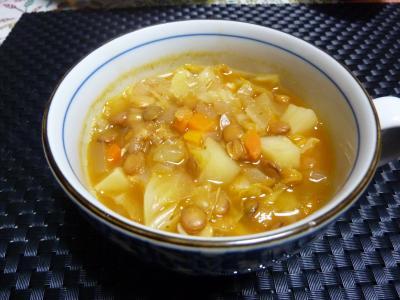 レンズ豆のピリ辛スープ