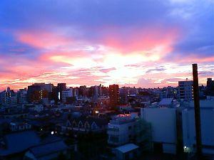 山田予防医術研究所からの夕焼け100808