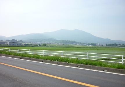 遠くに見えるのが筑波山