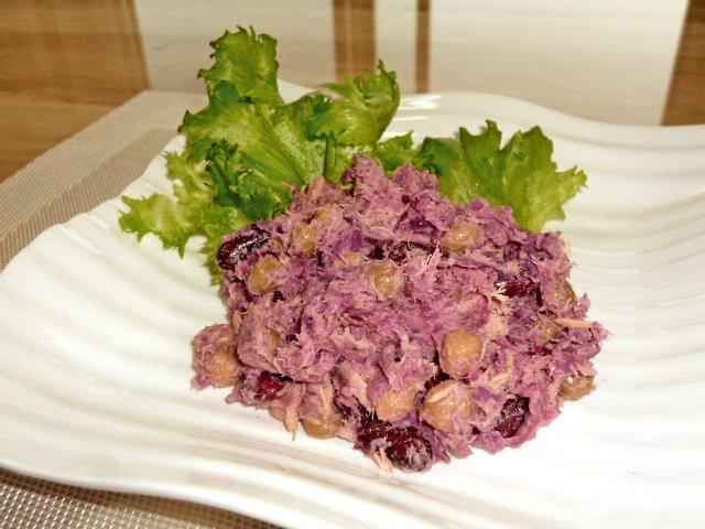 紫芋とミックスビーンズのサラダ♪1