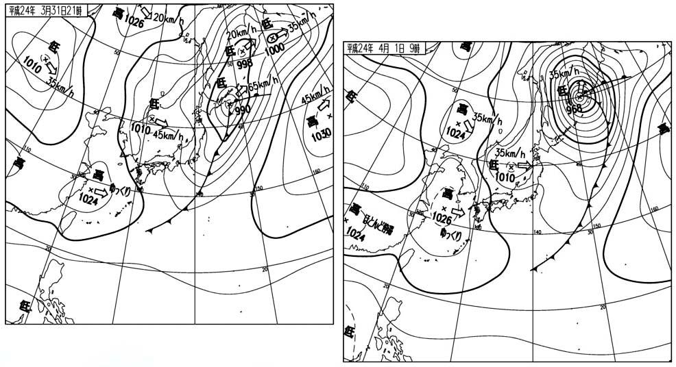 3月31日の夜と4月1日朝の天気図