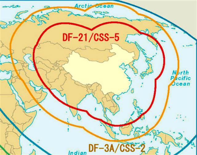 中国ミサイル範囲