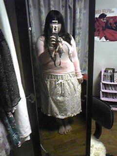 旦那作・春色2wayスカート、そのまま履くとこの長さ。