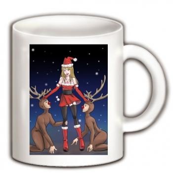 サンタに癒しを求めるトナカイ、内心バカな子たちねと思うサンタ マグカップ