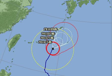 台風14号接近