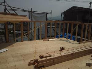 屋上庭園の手すり施工