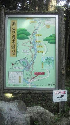 猿投山七滝めぐりの看板です。自転車ではいけません。