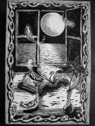 筆ペン画 星 月 夜 180-800