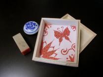 石印と和紙切絵の桐箱 210-800