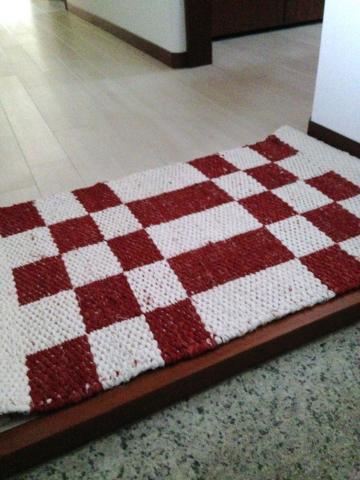 両面織りマット、ブロック柄