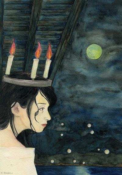 水彩画「橋姫」