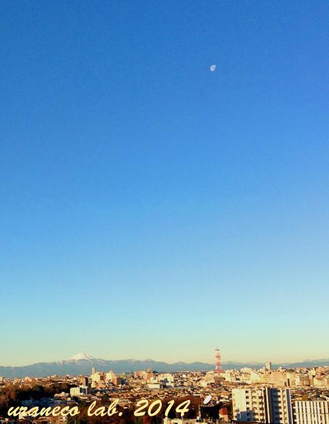 1月8日富士山と朝の月