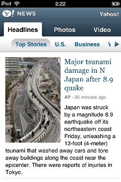 Yahoo! News:Major tsunami damage in N Japan after 8.9 quake