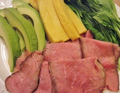 ローストビーフとみず菜