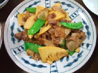 竹の子と豚のオイスタソース炒め