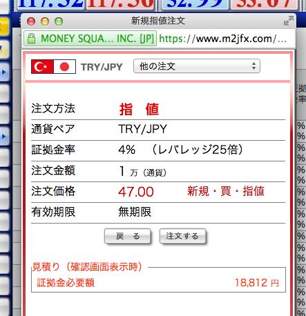 トルコリラ指値2014:11:27