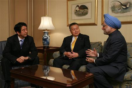森・安部元総理とインド首相