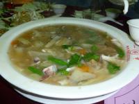 2012年度高雄顧客尾牙(忘年会)料理のイカと野菜のとろみスープ