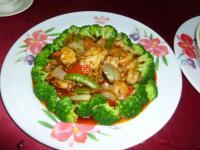2012年度高雄顧客尾牙(忘年会)料理のピリ辛ブロッコリー海鮮