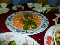 2012年度高雄顧客尾牙(忘年会)料理の有機蒸し海老