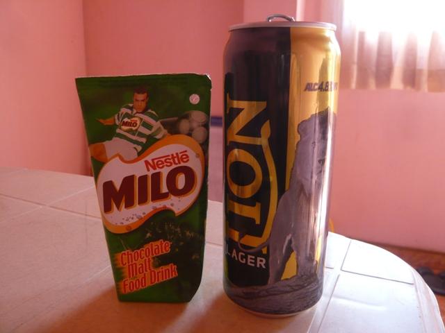 ライオンラガービールとネッスルMILO紙パック