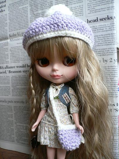 紫帽子・かばんセット-1