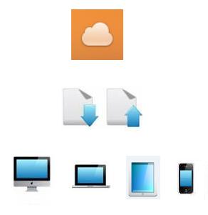 PC・タブレット・スマホでデータ共有のイメージ図